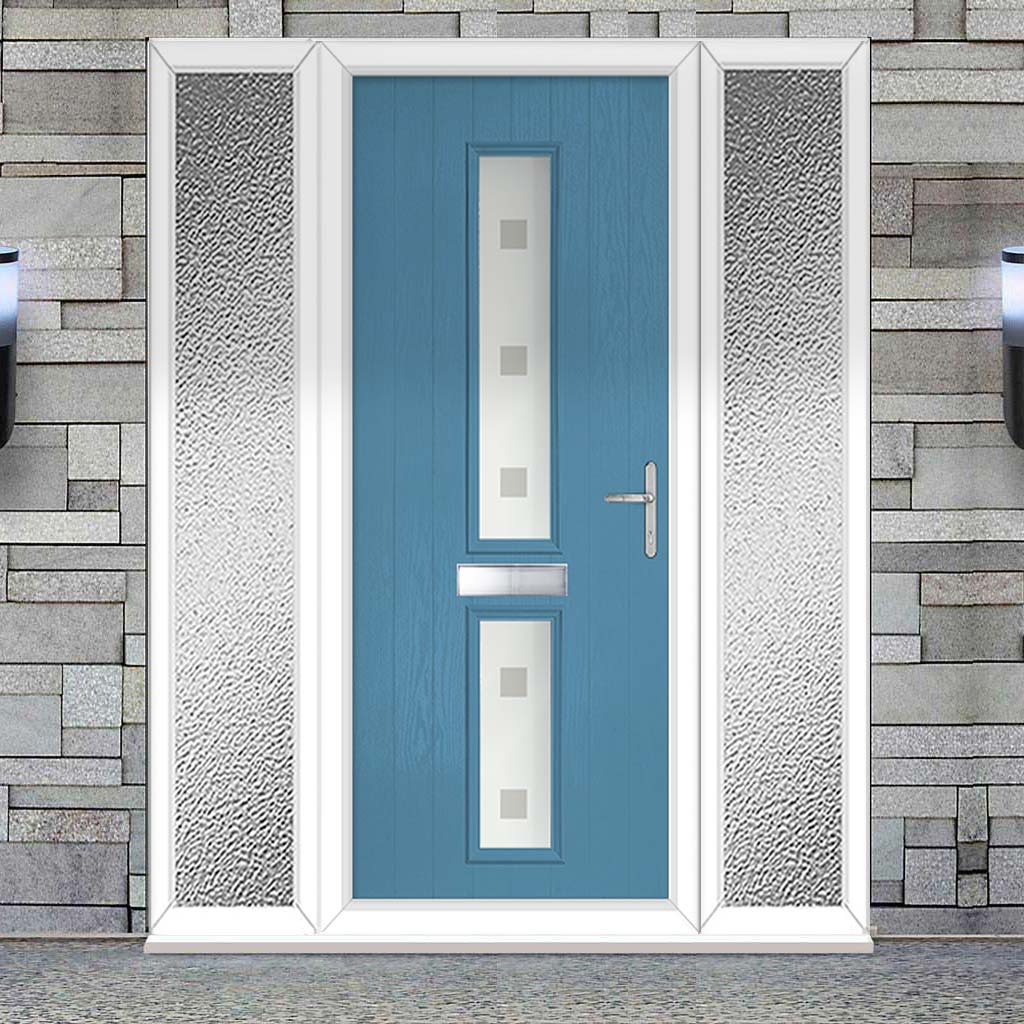 Cottage Style Debonaire 2 Composite Door Set with Double Side Screen - Central Sandblast Ellie Glass - Shown in Pastel Blue