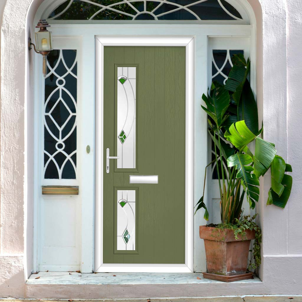 Cottage Style Debonaire 2 Composite Door Set with Hnd Kupang Green Glass - Shown in Reed Green