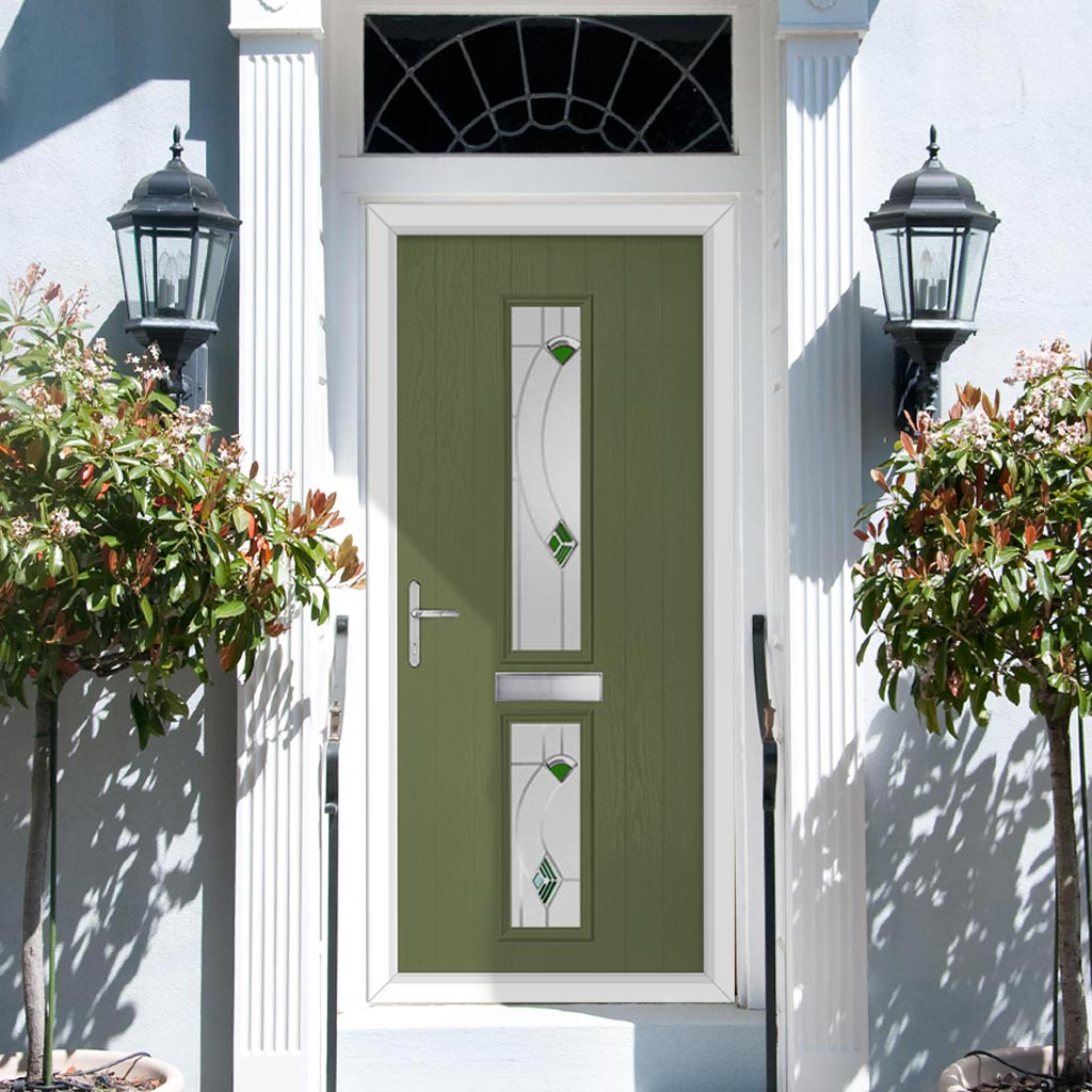 Cottage Style Debonaire 2 Composite Door Set with Central Kupang Green Glass - Shown in Reed Green