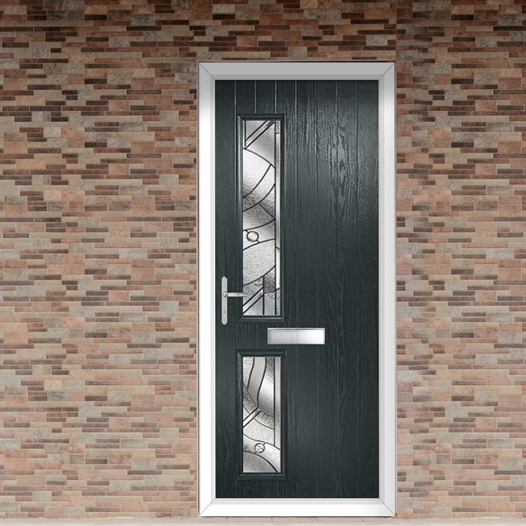 Cottage Style Debonaire 2 Composite Door Set with Hnd Abstract Glass - Shown in Anthracite Grey