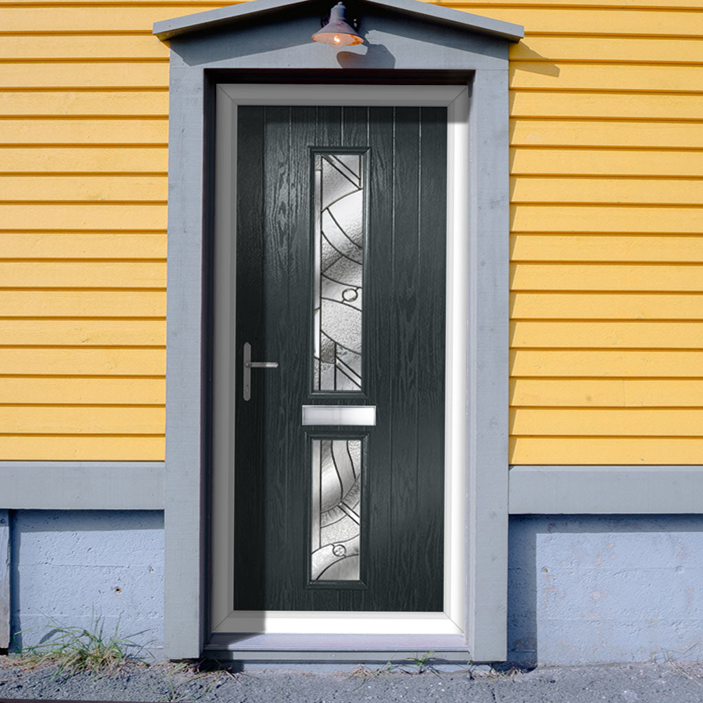 Cottage Style Debonaire 2 Composite Door Set with Central Abstract Glass - Shown in Anthracite Grey