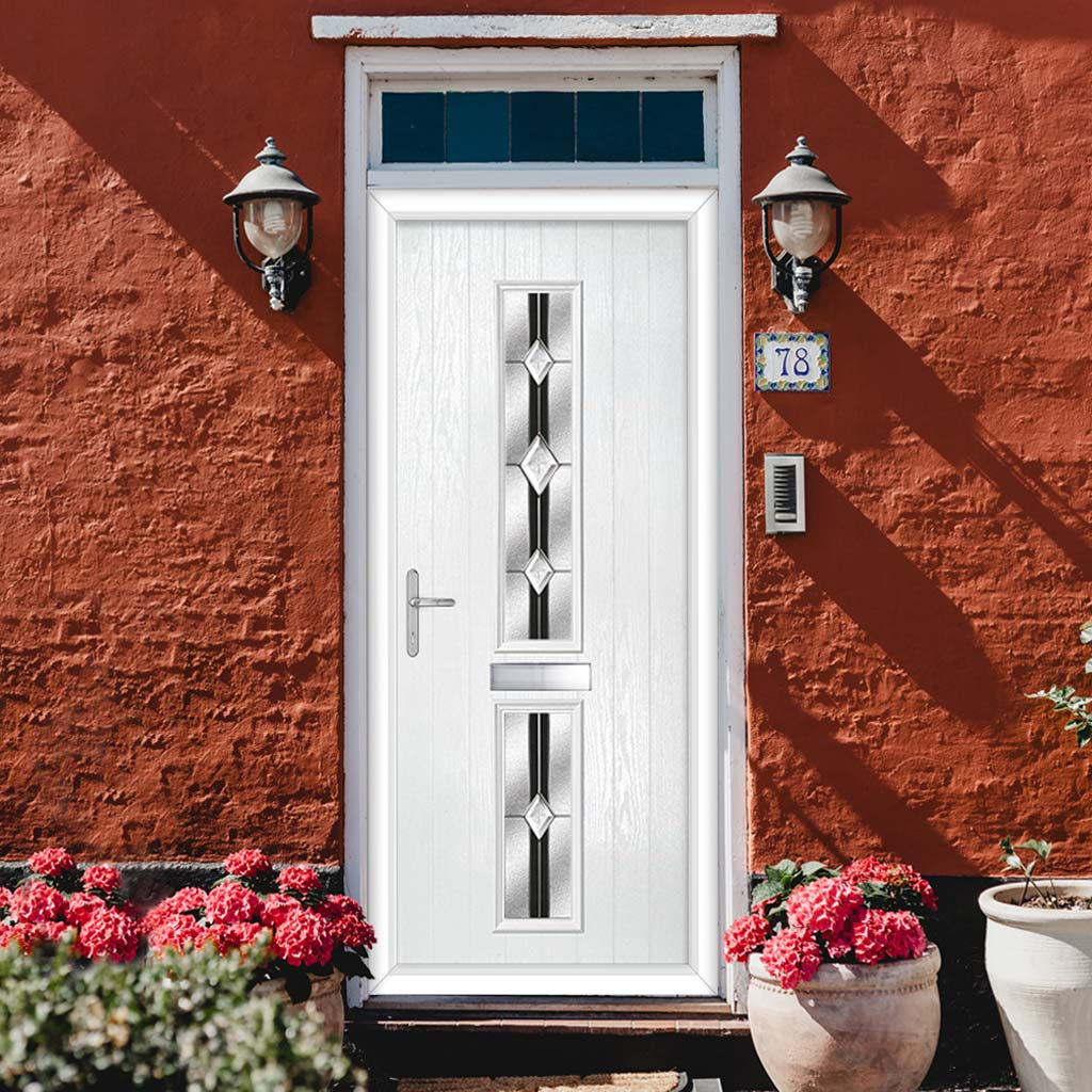 Cottage Style Debonaire 2 Composite Door Set with Central Jet Glass - Shown in White