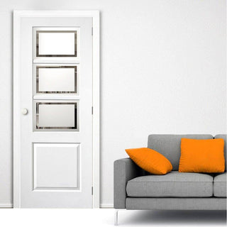 Image: J B Kind White Classic Andorra Primed Door - Etched Glass