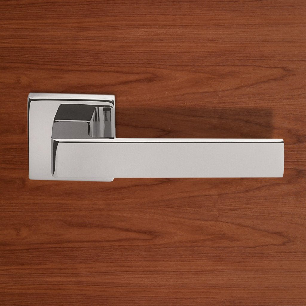 European TC5 Techna Lever Latch Handles on Square Rose - 4 Finishes