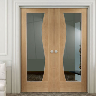 Image: Emilia Oak Flush Door Pair - Stepped Panel Design - Clear Glass