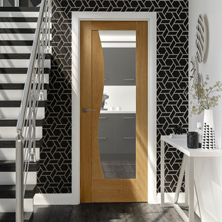 Image: Emilia Oak Flush Door with Stepped Design and Clear Safe Glass