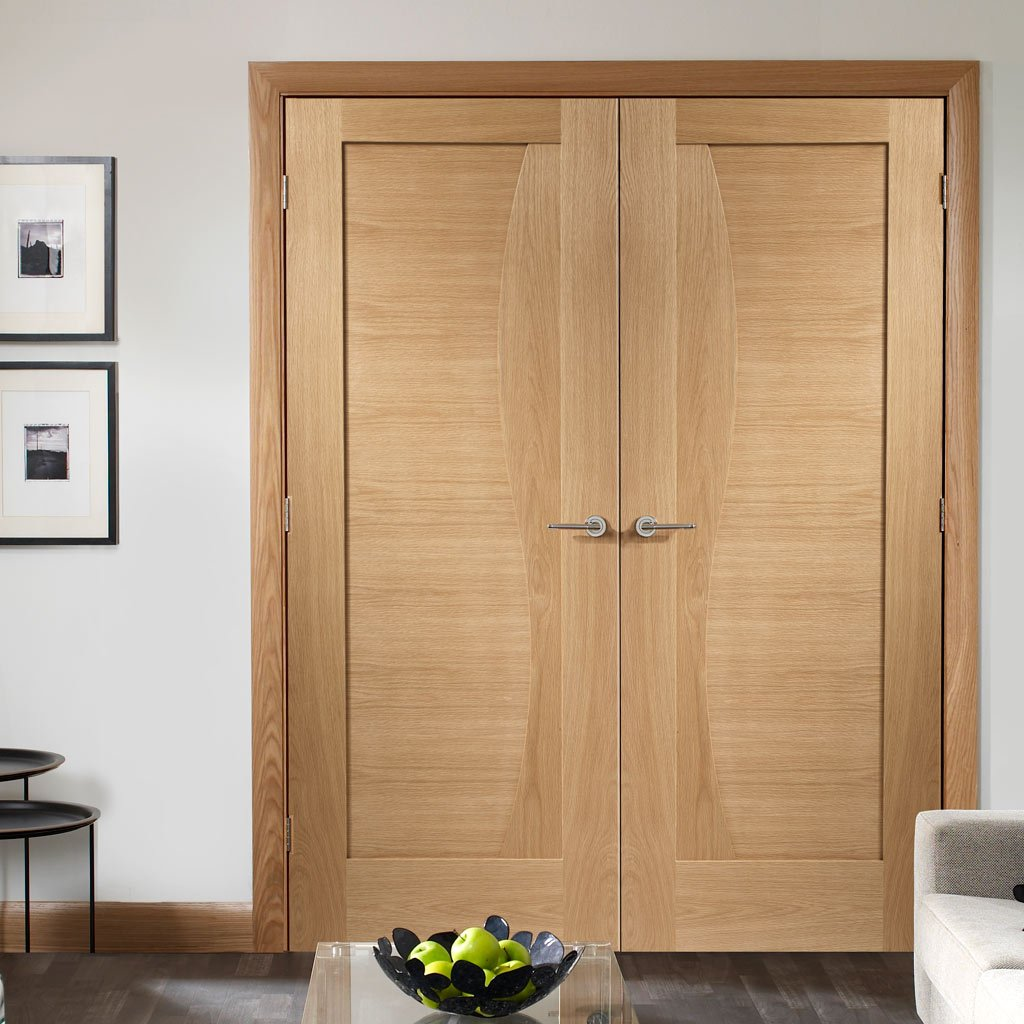 Emilia Oak Flush Door Pair - Stepped Panel Design