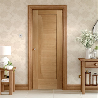 Image: Emilia Oak Flush Door - Stepped Panel Design - From Xl Joinery