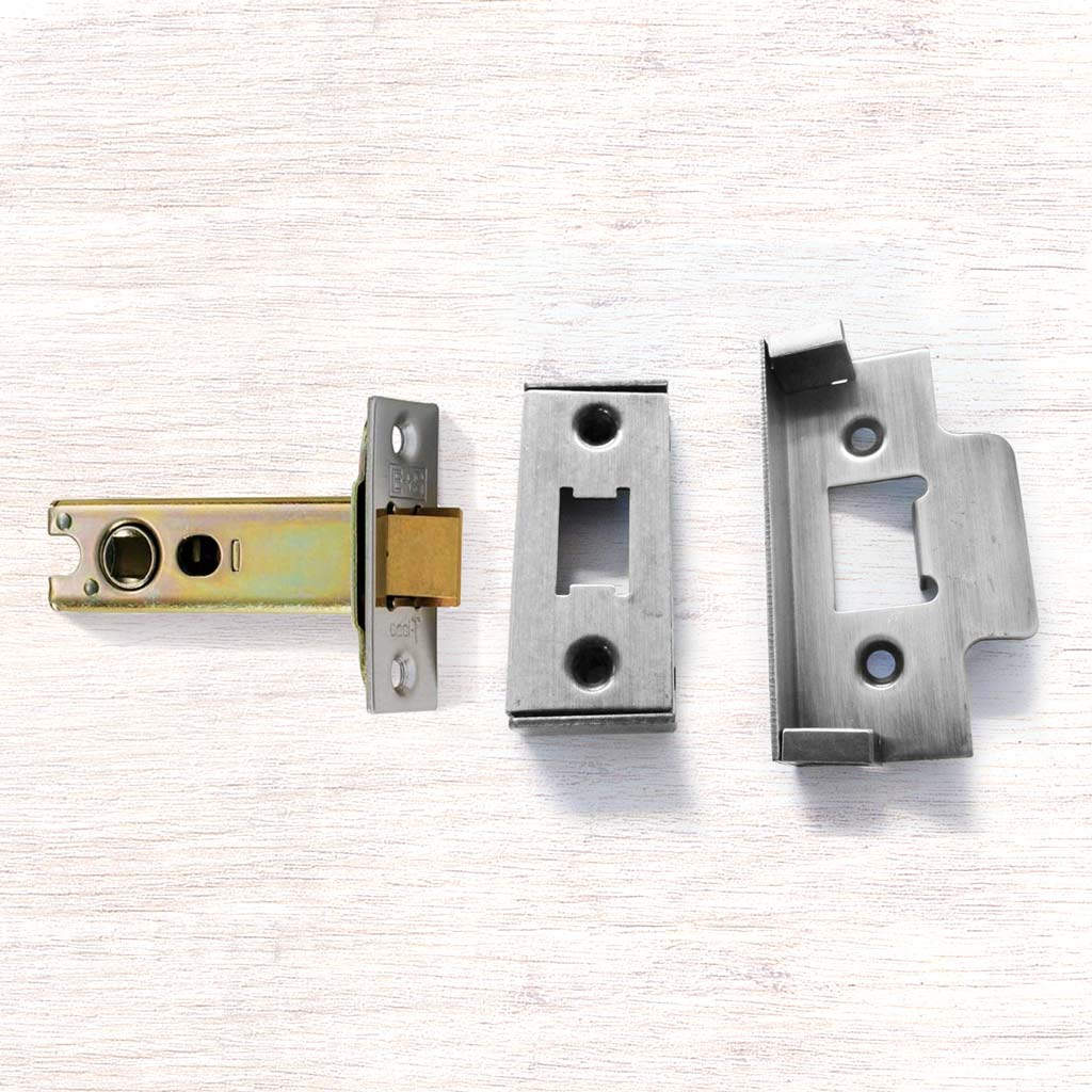 Heavy Sprung Rebated Tubular Latch, 65 - 75mm for Internal Doors - 2 Finishes and 2 Sizes