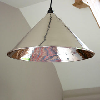 Image: Hammered Nickel Hockley Pendant Ceiling Light Fitting
