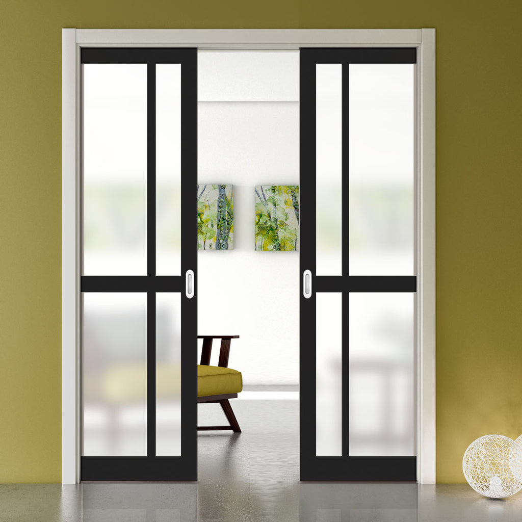 Bespoke Double Pocket Door WK6362 - Frosted Glass - 2 Prefinished Colour Choices