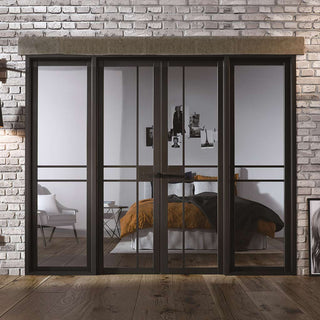 Image: W8 Greenwich Room Divider Door & Frame Kit - Clear Glass - Black Primed - 2031x2478mm Wide