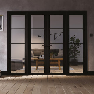 Image: W8 Soho Room Divider Door & Frame Kit - Clear Glass - Black Primed - 2031x2478mm Wide