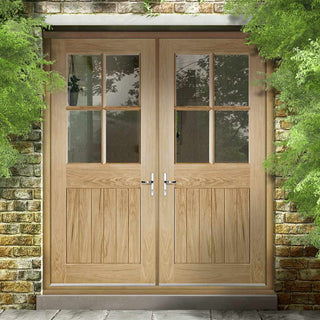 Image: Cottage 4L Exterior Oak Double Door and Frame Set - Clear Double Safety Glazing