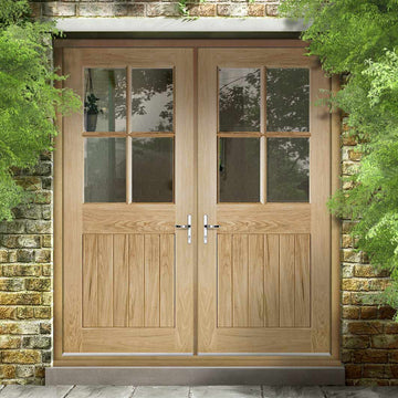 timeless design c4def 4c1ee Cottage 4L Exterior Oak Double Door and Frame Set - Clear Double Safety  Glazing