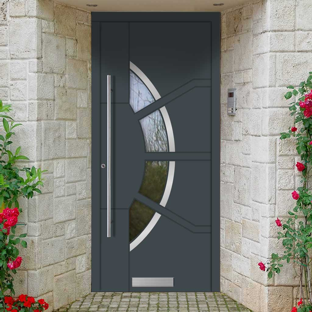 External Spitfire Aluminium S-200 Door - 1767 CNC Grooves & Stainless Steel - 7 Colour Options