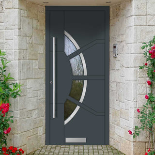 Image: External Spitfire Aluminium S-200 Door - 1767 CNC Grooves & Stainless Steel - 7 Colour Options