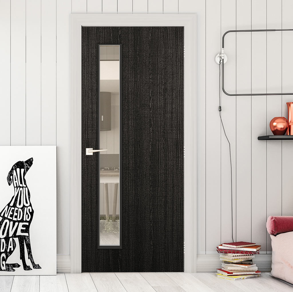 Bespoke Door - Flush American Dark Grey Ash Veneer - Clear Glass - 06 - Prefinished