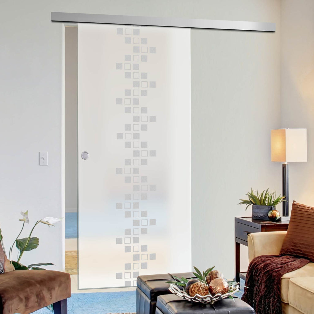 Single Glass Sliding Door - Carrington 8mm Obscure Glass - Obscure Printed Design - Planeo 60 Pro Kit