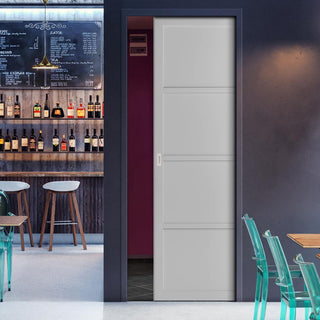 Image: Bespoke Industrial Single Pocket Door WK6307 - 4 Prefinished Colour Choices