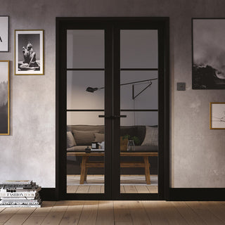 Image: W4 Soho Room Divider Door & Frame Kit - Clear Glass - Black Primed - 2031x1246mm Wide