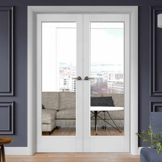 Image: Pattern 10 White Primed French Door Pair - Clear Glass