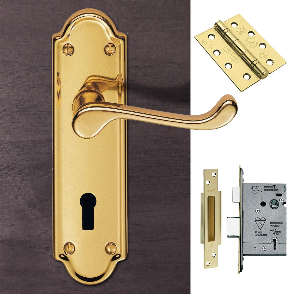 DL17 Ashtead Lever Lock Polished Brass Handle Pack - DL17-LOP