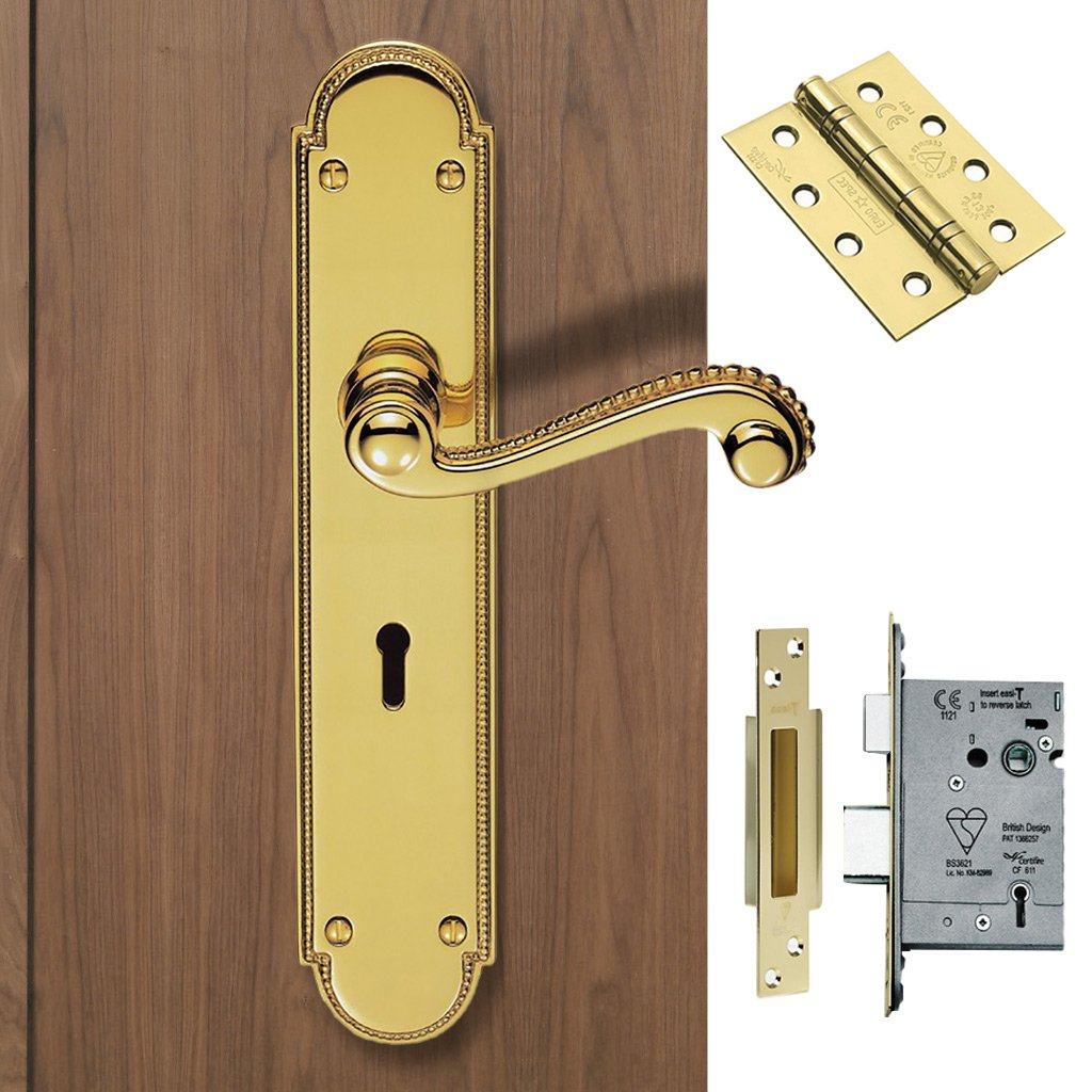 DL271 Chesham Lever Lock Handles Polished Brass Handle Pack