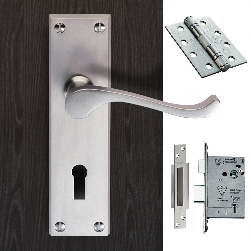 DL54 Victorian Scroll Suite Lever Lock Satin Chrome Handle Pack