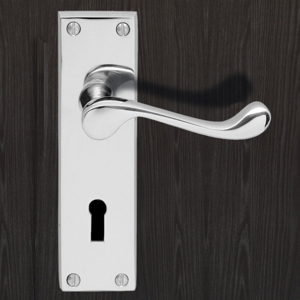 DL54 Victorian Scroll Suite Lever Lock Door Handles - 3 Finishes