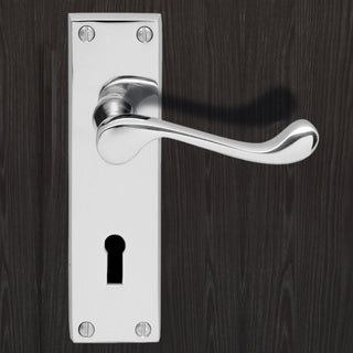 Image: DL54 Victorian Scroll Suite Lever Lock Door Handles - 3 Finishes