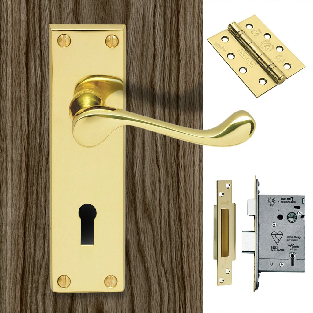 DL54 Victorian Scroll Suite Lever Lock Polished Brass Handle Pack - DL54-LOP