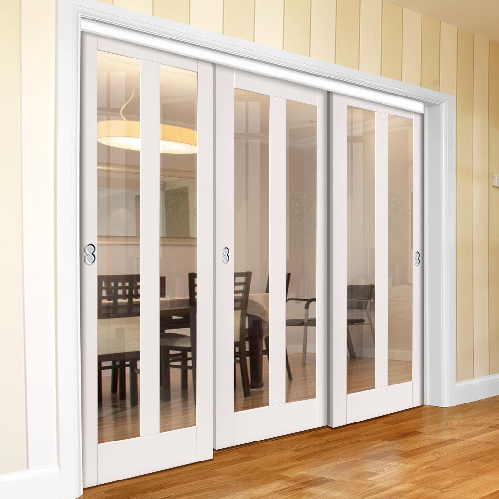Three Sliding Doors and Frame Kit - Dominica White Primed Door - Clear Glass