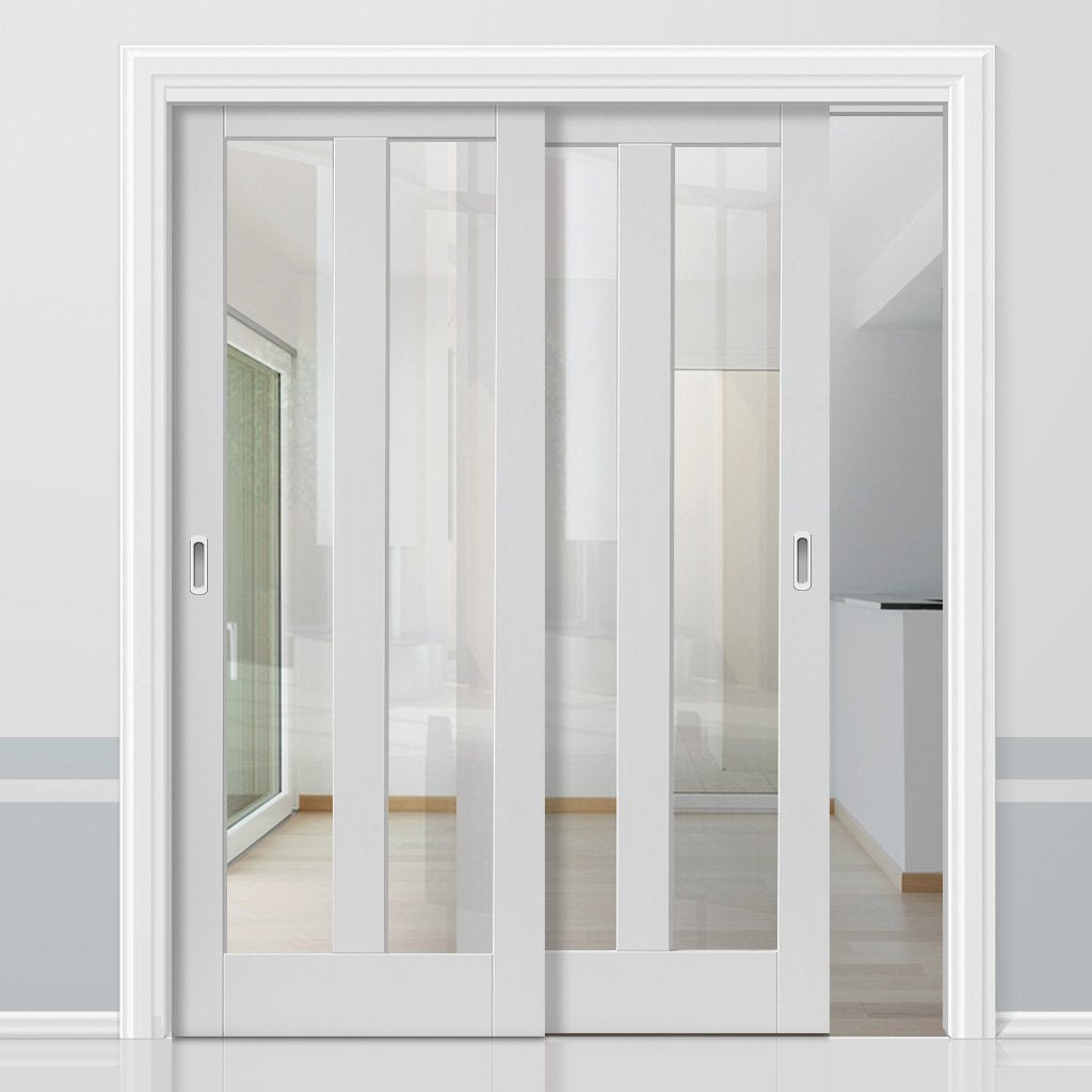 Two Sliding Doors and Frame Kit - Dominica White Primed Door - Clear Glass