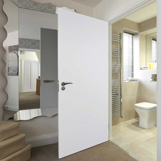 Image: Bathroom interior with door blank fitted