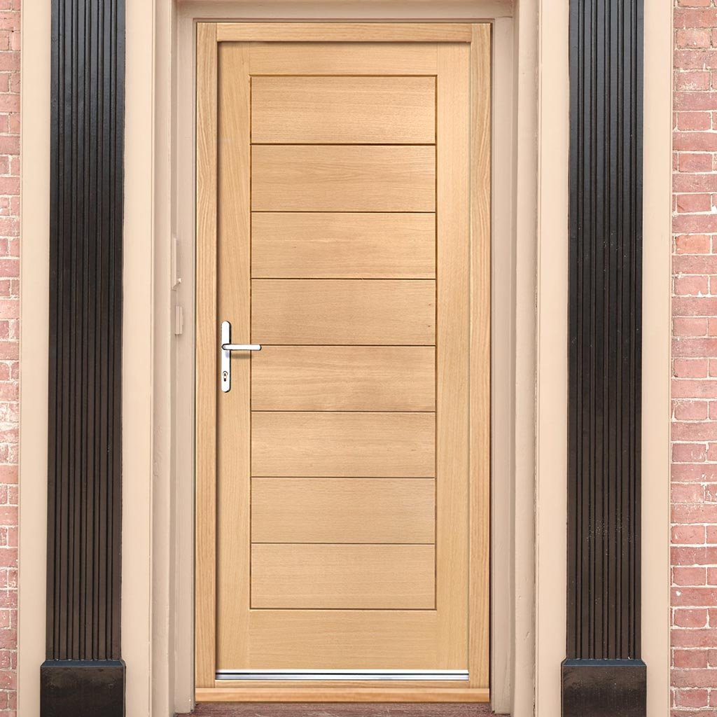 Modena External Oak Door And Frame Set With Fittings