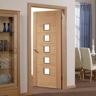 Image: palermo 5 pane oak door clear safety glass