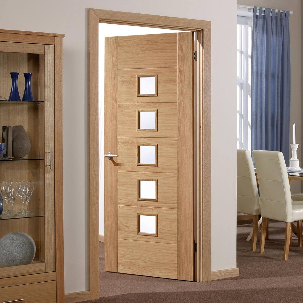 Door and Frame Kit - Carini 5 Pane Oak Door - Clear Glass - Prefinished