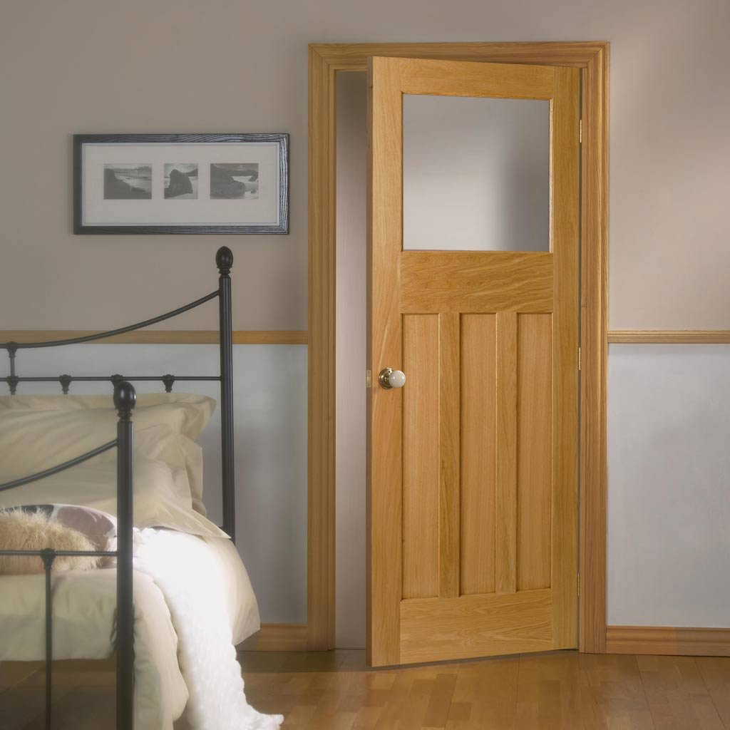 1930's Oak Solid Door with Frosted Safety Glass