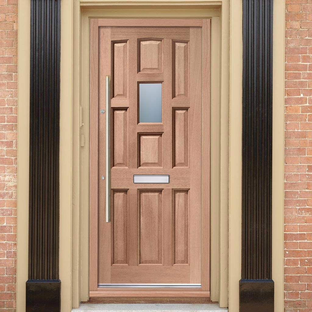 York Mahogany Door - Toughened Double Glazing