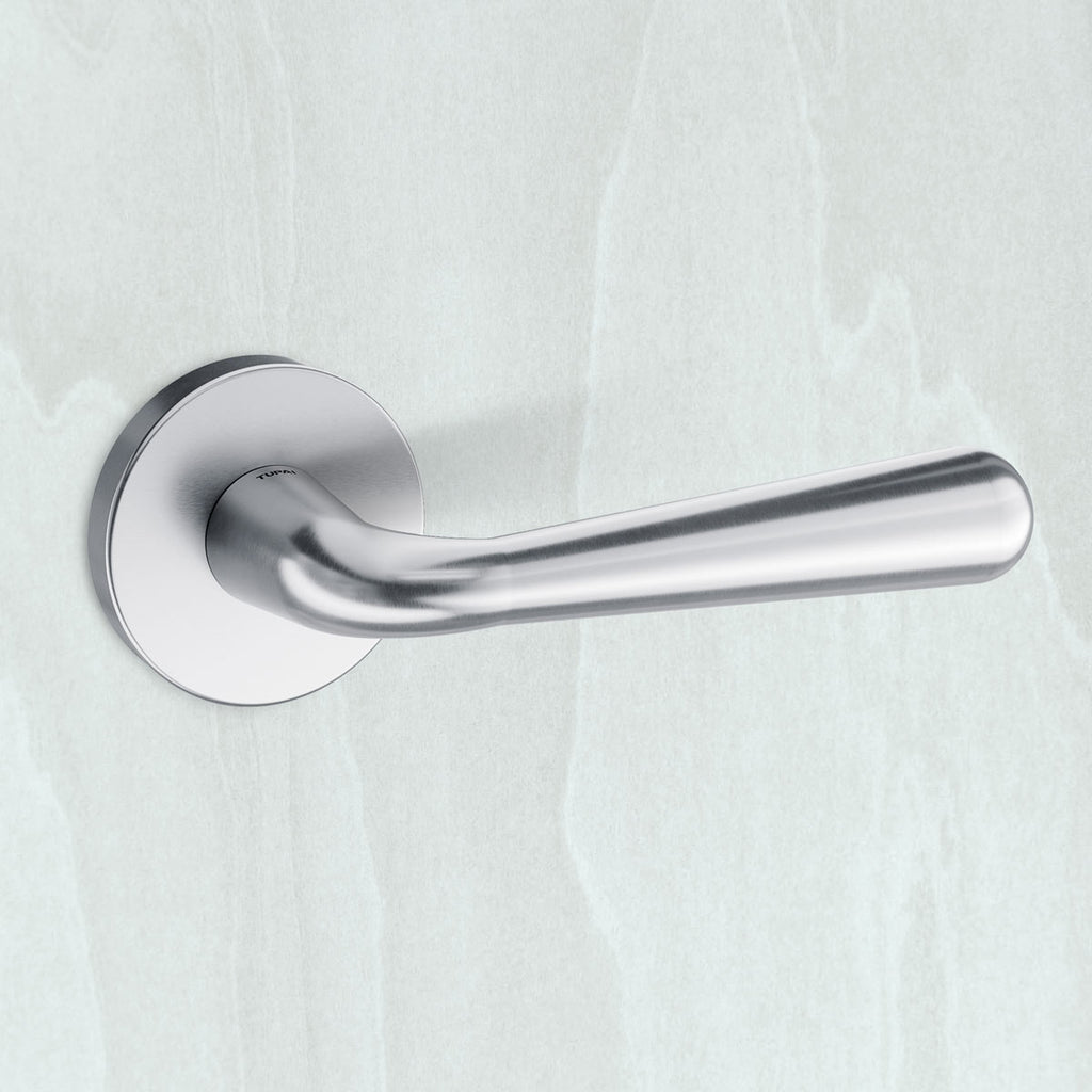 Tupai Rapido CurvaLine Adra Lever on Round Rose - Satin Chrome
