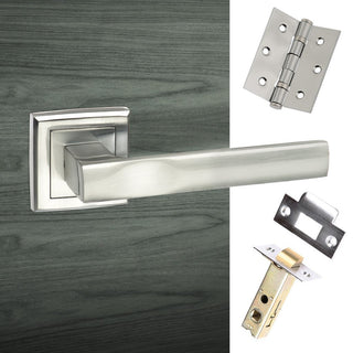 Image: Kansas Status Lever on Square Rose - Satin Chrome Handle Pack