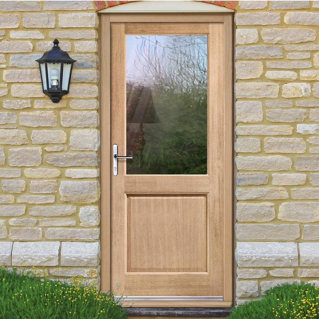 2XG Oak External Door and Frame Set with Fittings - Bevel Clear Double Glazing