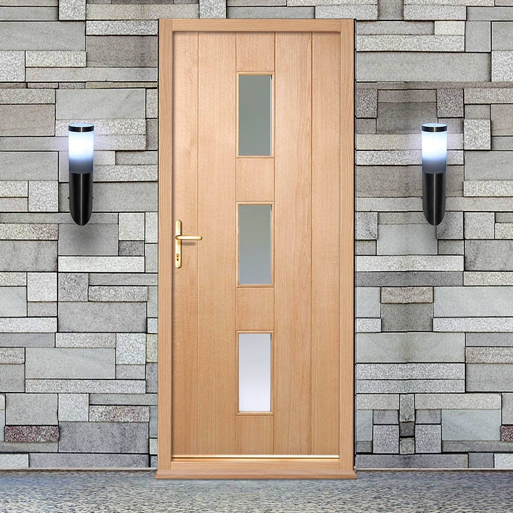 Copenhagen Oak External Door and Frame Set with Fittings - Frosted Double Glazing