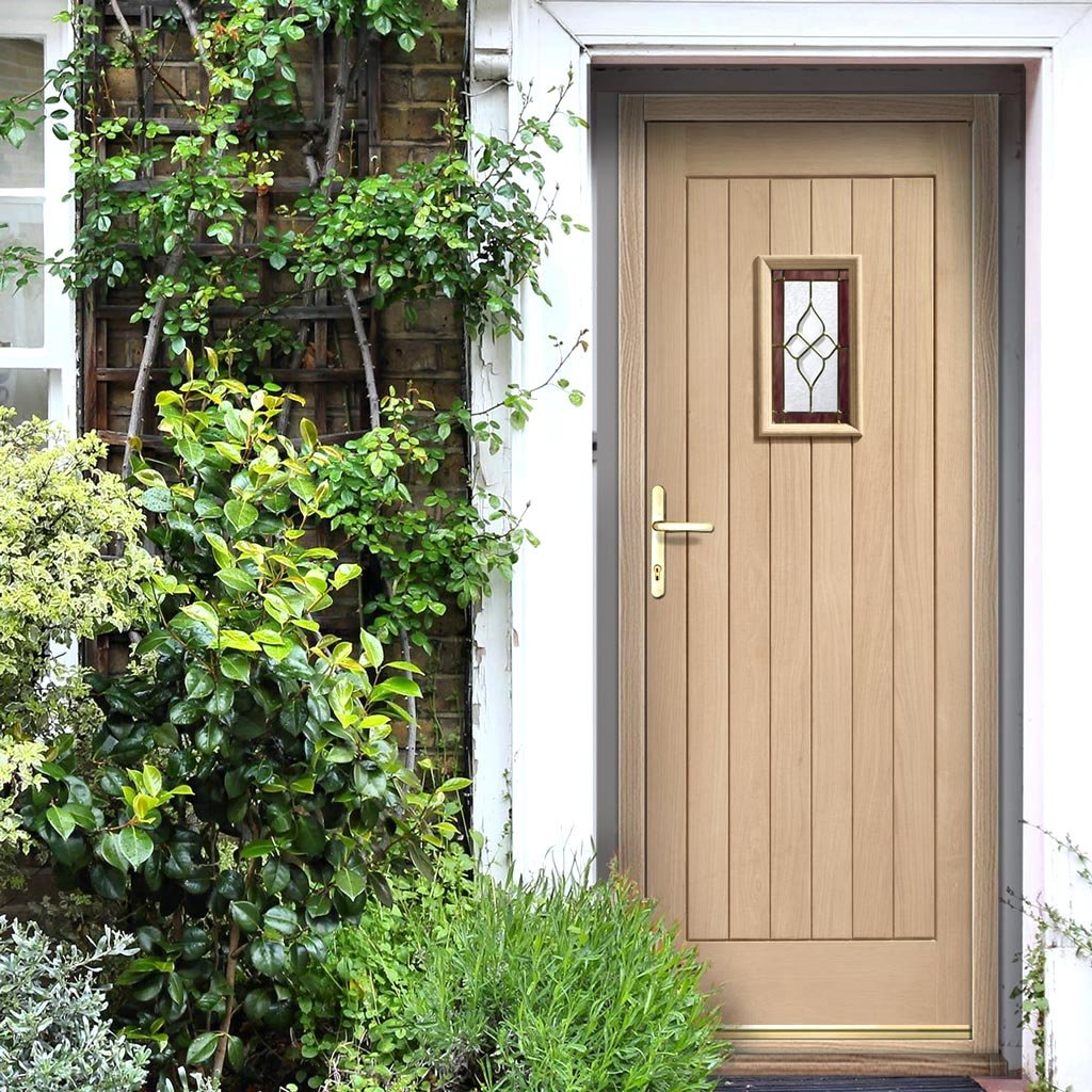 Chancery Onyx External Oak Door Set with Fittings - Bevelled style Tri Glazed