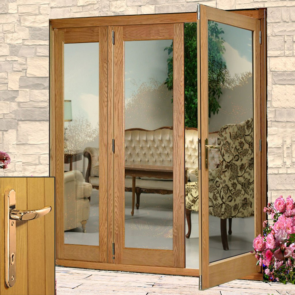 La Porte Oak French Door Pair & Side Frame Left - Brass Fittings