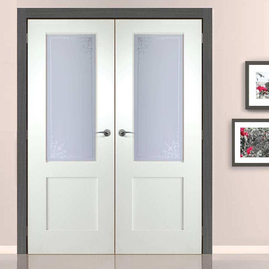 Shaker Internal PVC Door Pair with Geneva Sandblasted Glass