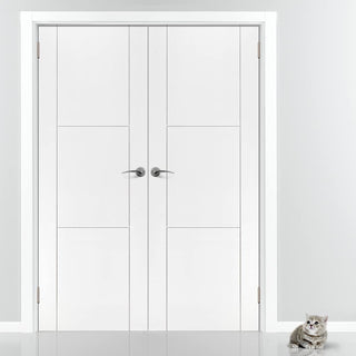 Image: J B Kind Mistral White Primed Flush Fire Door Pair - 30 Minute Fire Rated