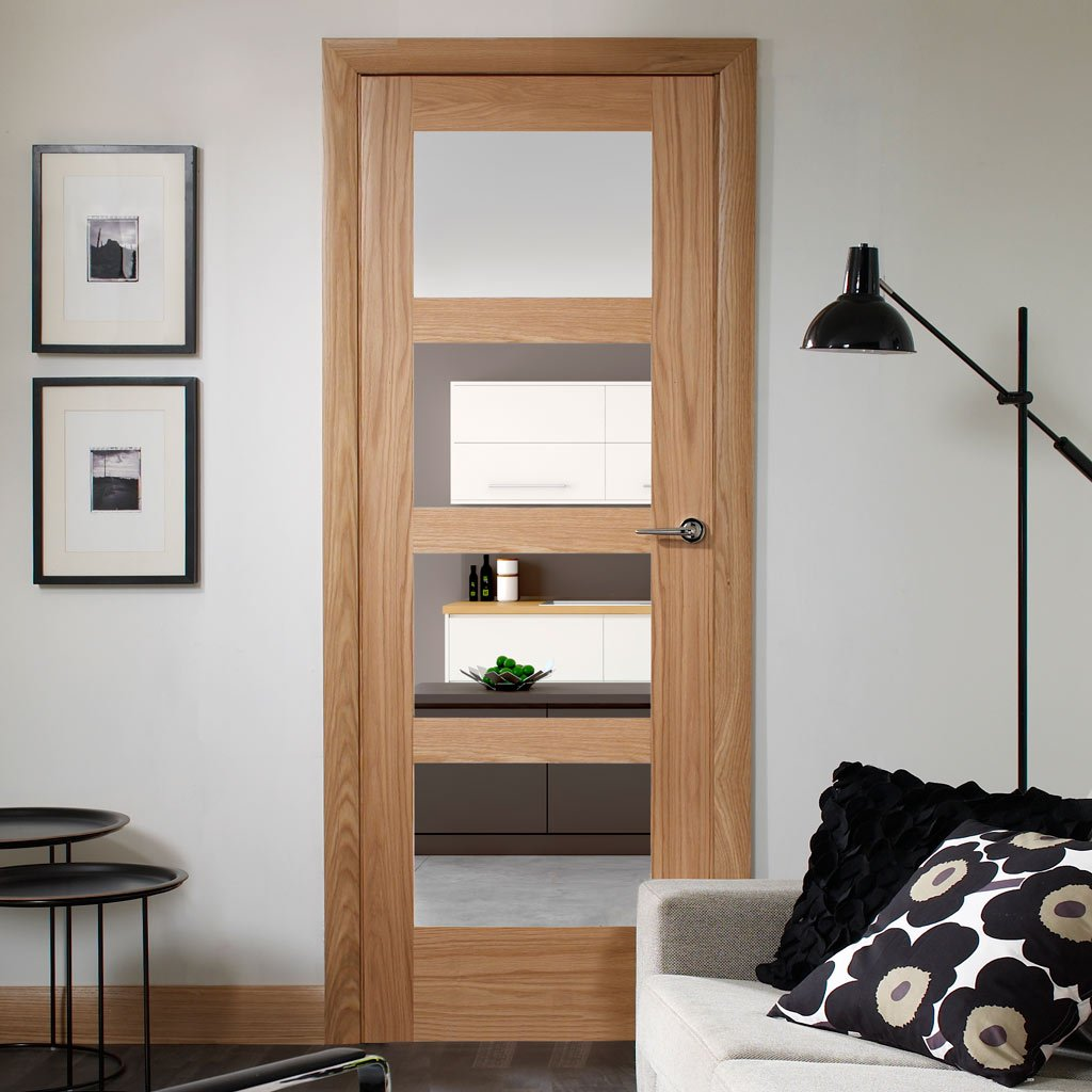 Door and Frame Kit - Shaker Oak 4 Pane Door - Clear Glass