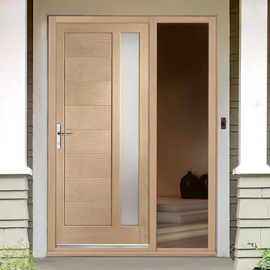 Modena Oak Door - Frosted Double Glazing and Frame Set - One Unglazed Side Screen